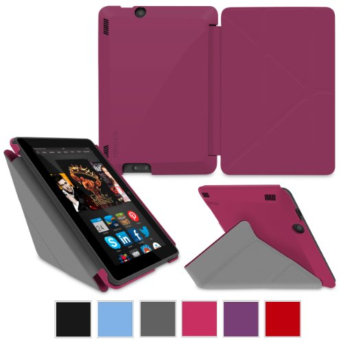"""rooCASE Amazon Kindle Fire HDX 7 Case - (2014 Current Generation) Origami Slim Shell 7-Inch 7"""" Cover with Landscape, Portrait, Typing Stand - MAGENTA (With Auto Wake / Sleep Cover)"""
