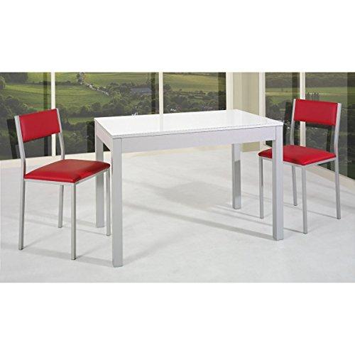 SHIITO Mesa de Cocina Extensible de Carro 110x70 cm en Aluminio y Tapa Cristal Elegir.