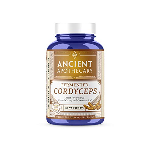 (Ancient Apothecary Fermented Cordyceps Mushroom Supplement, 90 Capsules - Infused with Organic Essential Oils, Ashwagandha Extract and Digestive Bitters)
