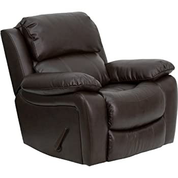 Flash Furniture Brown Leather Rocker Recliner  sc 1 st  Amazon.com & Amazon.com: Flash Furniture Plush Brown Leather Lever Rocker ... islam-shia.org