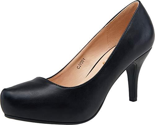 VEPOSE Women's Low Heel Pumps Front Inner Waterproofing Platform Round Toe Mid Heel Classic Dress Shoes for Women