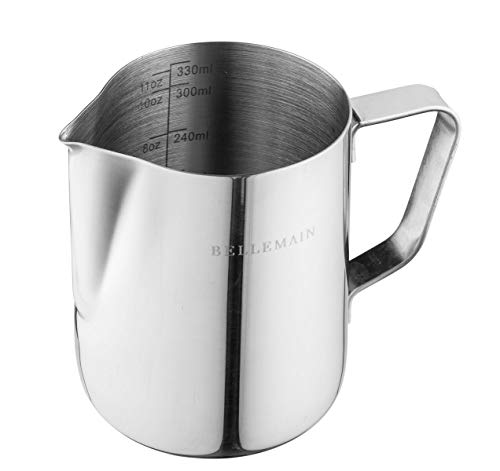 Stainless Steel Milk Frothing Pitcher, by Bellemain- Ideal for Espresso Machines and Latte Art, 12 oz./350 mL perfect size for making 1 cappuccino or 2 lattes, Larger pitchers force you to waste milk.