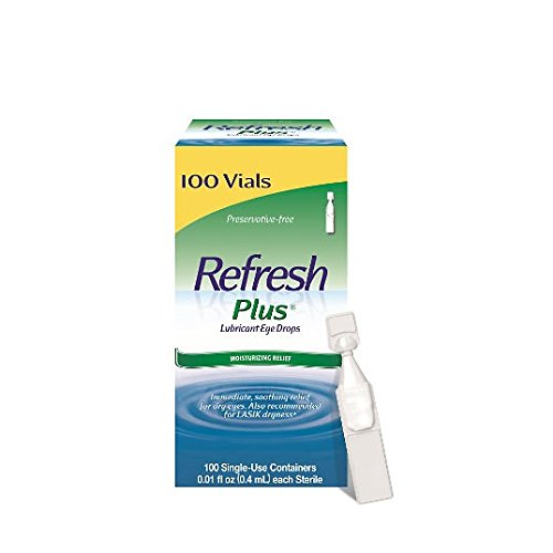Refresh Plus Lubricant Eye Drops Long Lasting Relief Plus Protection for Mild to Moderate Dry Eye (2 Pack (100 Single))