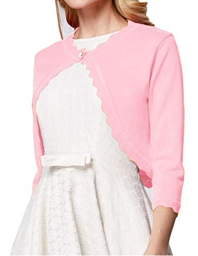 GRACE KARIN Women's Classic 3/4 Sleeve Open Front Knit Cropped Bolero Cardigan (Pink, Large)