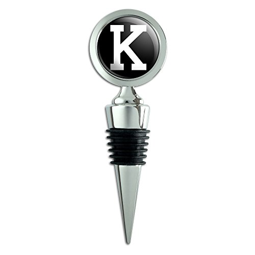 Letter K Initial Black White Wine Bottle Stopper ()