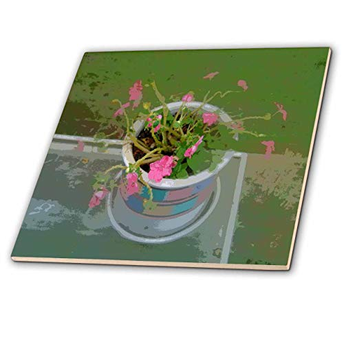 3dRose Lens Art by Florene - Modern Impressionism - Image of Abstract Pot of Pink Flowers On Table - 8 Inch Ceramic Tile (ct_303029_3)
