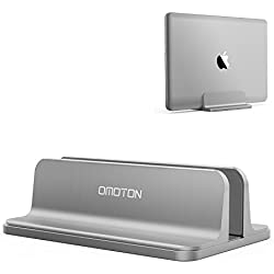 Vertical Laptop Stand [Adjustable Size], OMOTON Desktop Aluminum MacBook Stand with Adjustable Dock Size, Fits All MacBook, Surface, Chromebook and Gaming Laptops (up to 17.3 inch), Gray