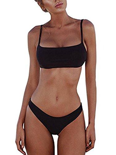 ROVLET 2018 Sexy Push Up Padded Brazilian Bikini Set Swimwear Swimsuit Beach Suit Bathing Suits (Small, Black)