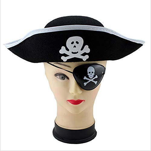 Asien 1PCS Pirate Hat Halloween Masquerade Cosplay Costume Party Decor DIY Fancy Dress Up (Black+White)]()