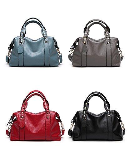 Sunwel Fashion Women's Faux Leather Medium Boston Bags Shoulder Strap Crossbody Handbag Tote Laptop Satchel Purse