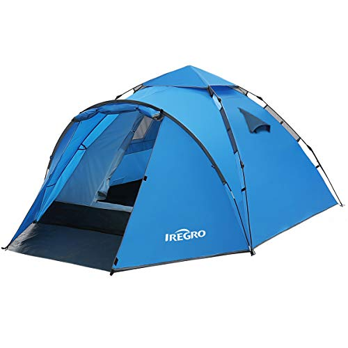 IREGRO Wurfzelt Pop Up Zelt 3-4 Personen automatisches Campingzelt Familienzelt Tunnelzelt Kuppelzelt Sekundenzelt…
