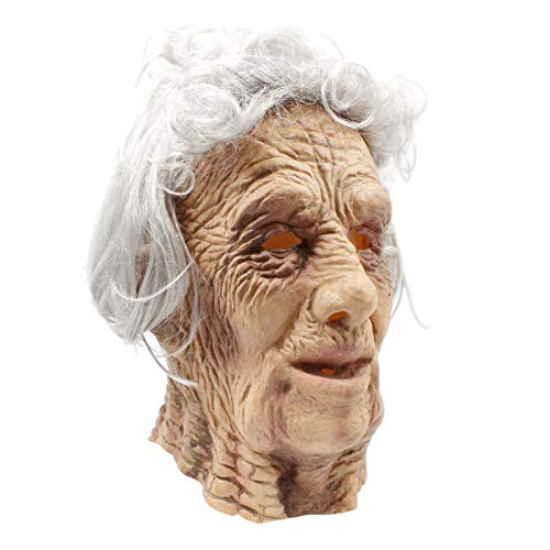 PartyHop - Old Man Mask - Realistic Halloween Latex Human Wrinkle Face Mask Brown -