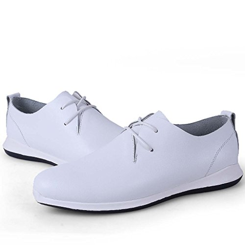 ZXCV Zapatos al aire libre Zapatos casuales de los hombres suave transpirable cinturón de moda de cuero jóvenes zapatos de senderismo zapatos blancos puros Blanco