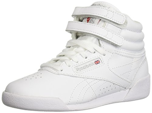 Reebok Unisex Freestyle Hi Sneaker, White/Silver, 3 M US Little Kid - Hi Kids Casual Shoes