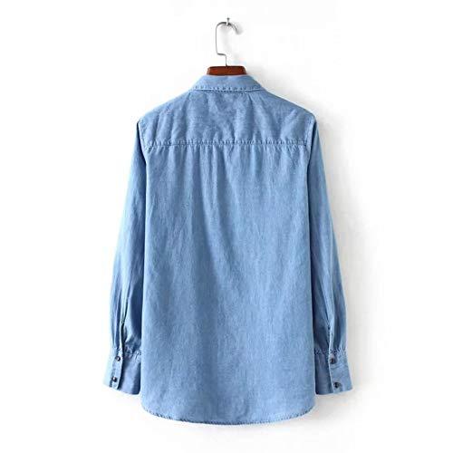 Camisa Para Delgadas S Larga Solapas Manga Con Sin De Camisas Costuras Recta Mezclilla Mujeres Corbatas Escote Cnsdy Zqxzgw5q