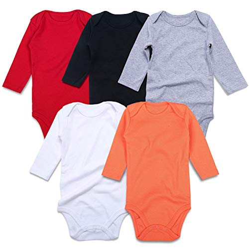 - ROMPERINBOX Unisex Solid Multicolor Baby Bodysuits 0-24 Months (Black White Grey Red Orange Long Sleeve 5 Pack, 6-9 Months)