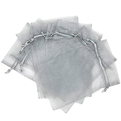 Glitterymall 50pcs Drawstring Organza Jewelry Gift Pouch Bags Wedding Party Favor (5''x7'' SILVER COLOR) ()