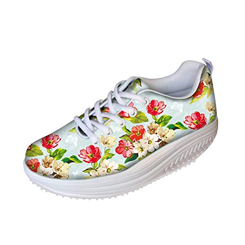 FOR U DESIGNS Trendy Floral Print Women's Breathable Mesh Fitness Platform Wedge Shoes Sneaker US 7 Pink White