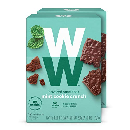 WW Mint Cookie Crunch Mini Bar - Snack Bar, 2 SmartPoints - 2 Boxes (24 Count Total) - Weight Watchers Reimagined ()