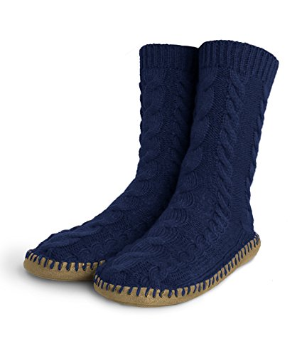 Pembrook Ladies Tall Cable Knit Slipper Socks - Memory Foam + Suela Antideslizante - Tallas S, M, L - Suela De Imitación De Ante - Great Plush Slip On House Zapatillas Para Adultos, Mujeres, Niñas Azul Marino