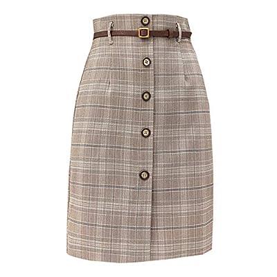 Spring Elegant Office Lady Slim Lattic High Waist Plaid One Step Skirt