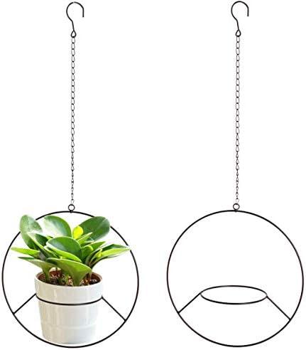 Vencer 2Pack Metal Flower Pot Holder Plant Hanger Modern Round Hanging Planter,Black,VF-0123B
