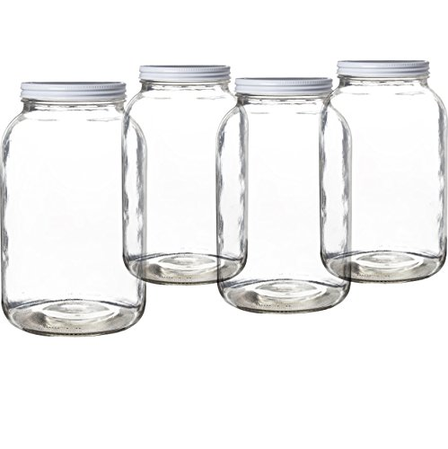 Pakkon Wide Mouth Glass Mason Jar with Metal Lid/Ferment & Store Kombucha Tea or Kefir/Use for Canning, Storing, Pickling & Preserving Dishwasher Safe, Airtight Liner Seal, 1 gallon (4 Pack)