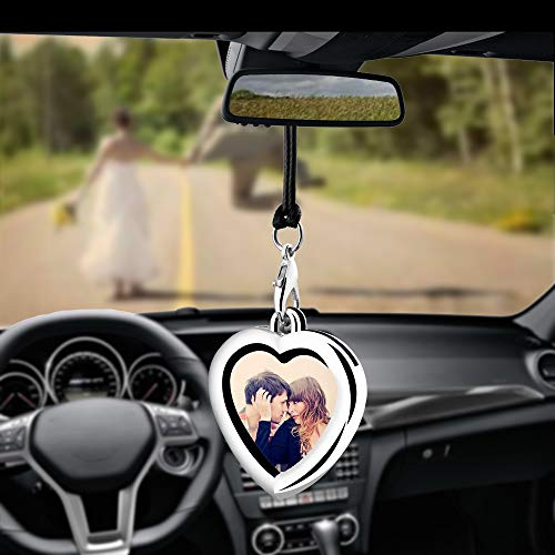 Libloop Car Auto Rearview Mirror Hanging Ornament Beautiful Photo Frame Locket Photo Frame Metal for Car Mirror (Heart Shaped) (Decorations Interior Car)