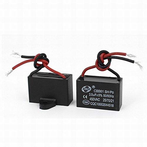 - Ugtell Cbb61 Motor run Capacitor 2Uf +/-5%, 50/60Hz, AC 450V, (2 Piece), Black metalized polypropylene film