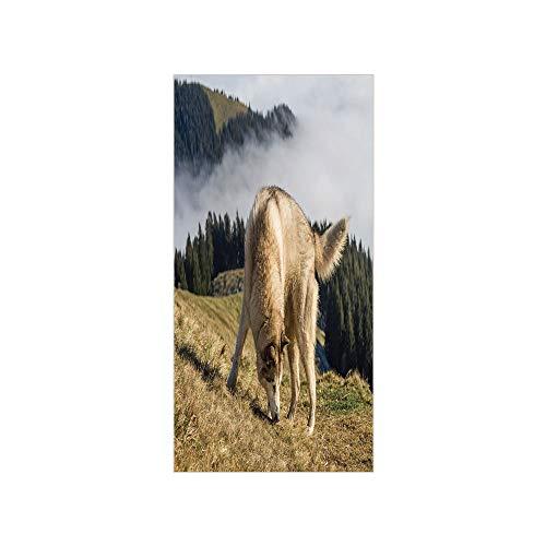 3D Decorative Film Privacy Window Film No Glue,Alaskan Malamute,Purebred Dog Foggy Mountains Trees Faithful Companion Decorative,Light Brown Dark Green Beige,for Home&Office