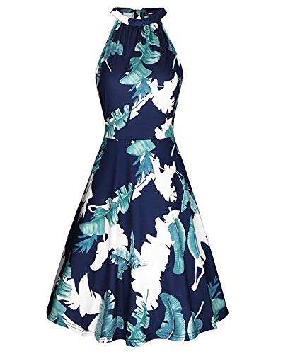 OUGES Women's Halter Neck Floral Summer Casual Sundress(Floral-06,L)