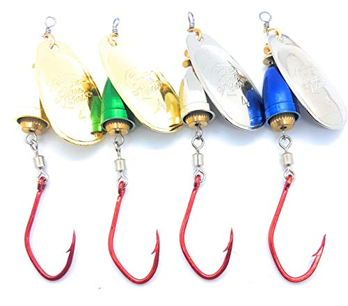 Prime Lures Bell Spinners Blue Fox Style (Blue, Chrome, Brass, Green, 4, 2/5oz)
