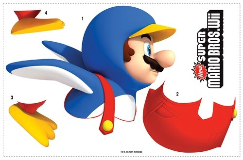 SUPER MARIO BROTHERS Wii PENGUIN GiaNT WALL DECAL Room Stick