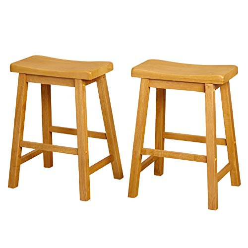 Walnut Island Light - Target Marketing Systems Set of 2 24-Inch Belfast Wooden Saddle Stools, Set of 2, Rustic Oak