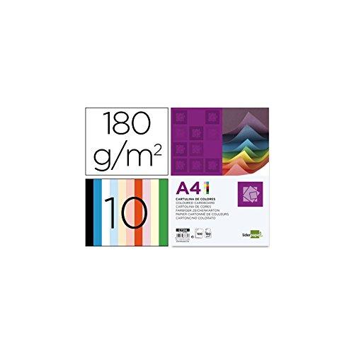 Liderpapel Cartulina A4 180G/M2 10 Colores Surtidos Paquete De 100 product image