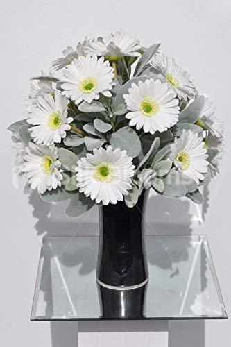(Silk Blooms Ltd Artificial White Fresh Touch Gerbera and Lambsear Floral Arrangement w/Waisted Black Glass)