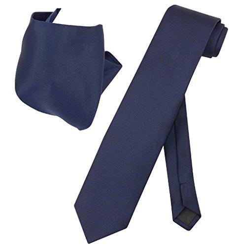 Vesuvio Napoli Solid EXTRA LONG NAVY BLUE Color NeckTie & Handkerchief Men's XL Neck Tie Set