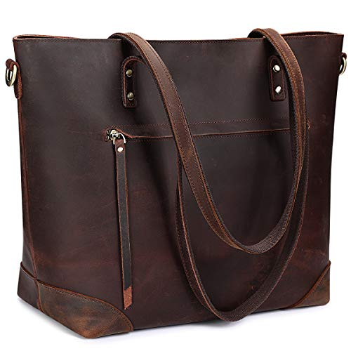 S-ZONE Vintage Genuine Leather Shoulder Tote Bag for Women Purse Handbag with Back Zipper Pocket (Dark Brown)