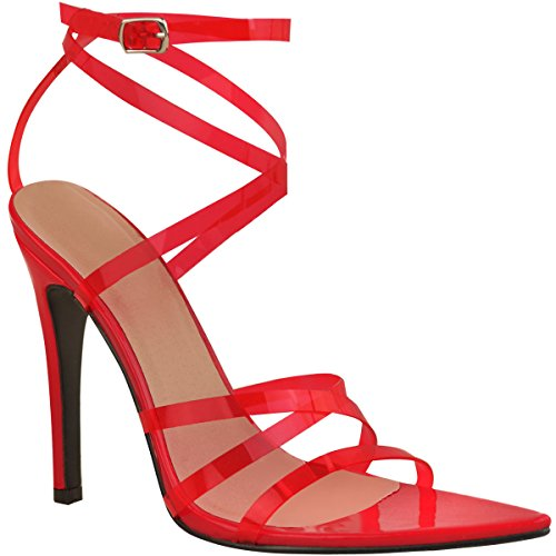 Fine pour Hauts Plexiglas Femme Bride Verni Talons à Rouge Cerise Sandales Pointues Sexy Wn8a6Bww