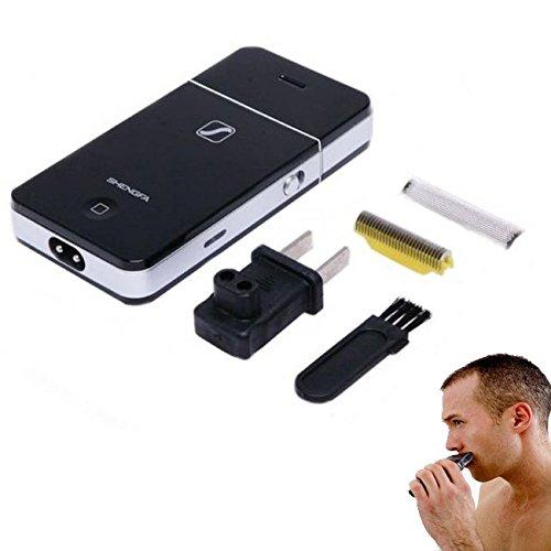 takestop® Mini Rasoio 2055 Forma iPhone Elettrico Uomo Ricaricabile Barba PELI da Viaggio Tascabile Colore Casuale MOON 1002600