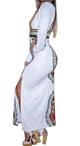 Etnico Stile donne Africano Magro Grattacielo Abito Bianco Dashiki Spaccatura Coolred Sexy xZCgqw6