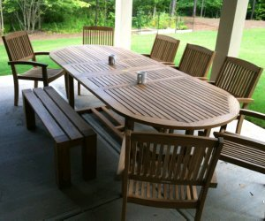Atlanta Teak Furniture - Teak 4 backless bench - extra thick legs