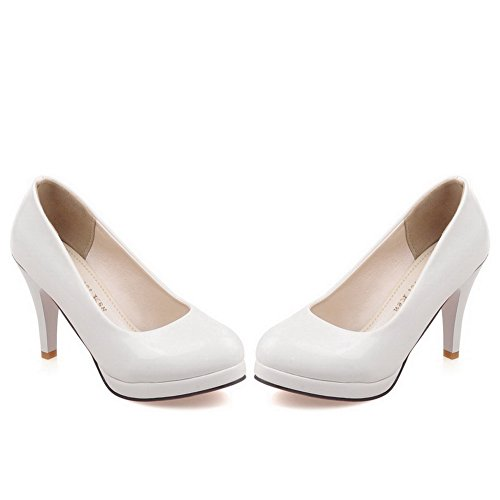 Balamasa Mesdames Slip-on Talons Hauts En Cuir Verni-pompes Blanches-chaussures