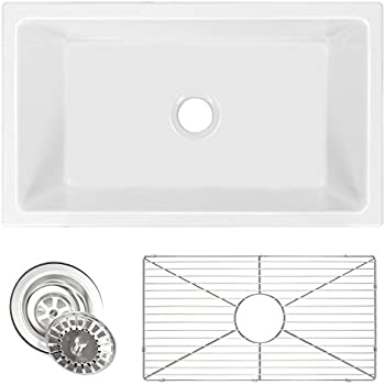 Zuhne Ostia 30 Fireclay Farmhouse Apron White Reversible Kitchen Sink