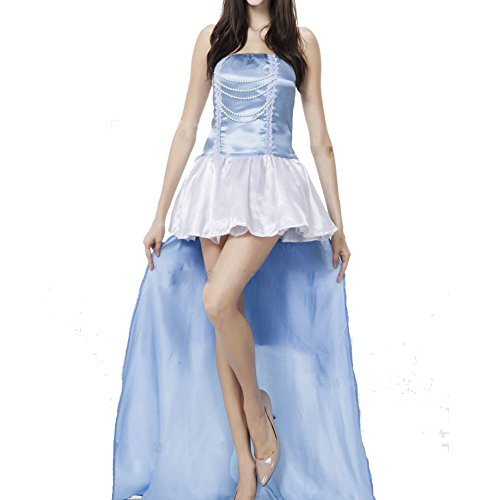 RedExtend Fairytale Snow White Costume Sleeping Beauty Cosplay Party Dress Blue (Beauty Queen Fancy Dress)