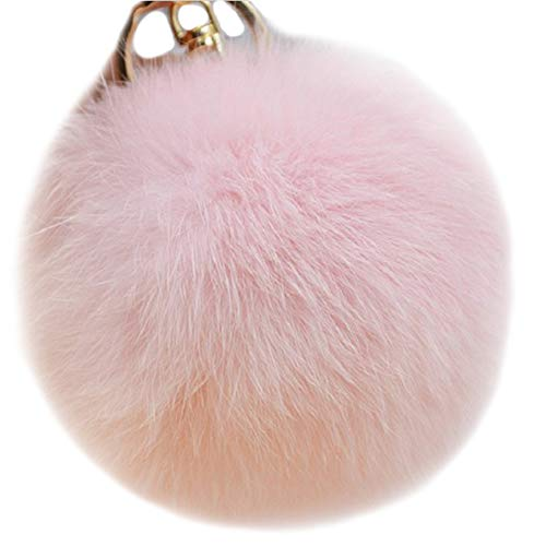 Valpeak 9.5cm Rabbit Fur Ball Pom Pom Keychain Fluffy Fur Keychain for Women Fur Pom Pom Key Chain(Light Pink)