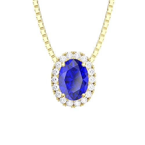 Eternity Saphir et Diamant Or Argent Pendentif Ovale (Jaune)