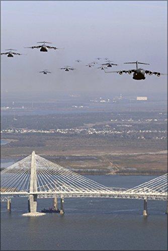 Arthur Ravenel Bridge (24x36 Poster; C-17 Flying Over Arthur Ravenel Bridge)