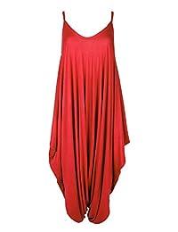 Oops Outlet Women's Thin Strap Lagenlook Romper Baggy Harem Jumpsuit Playsuit