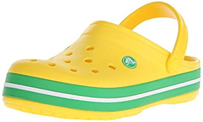 crocs Unisex Crocband Clog, Lemon/Grass Green, 6 M US